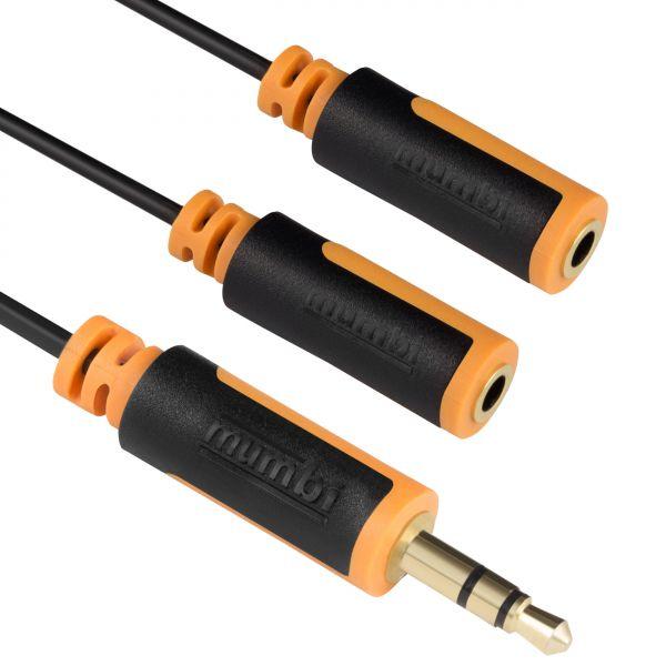 Y Audio Splitterkabel 10cm - 3.5mm Klinke auf 2x 3.5mm Klinkenkupplung mit vergoldeten Stecker