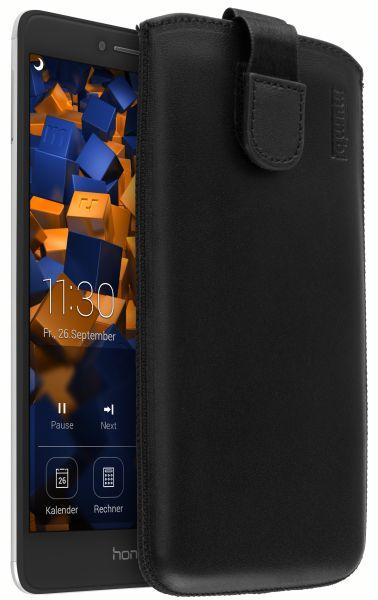 Leder Etui Tasche mit Ausziehlasche schwarz für Huawei Honor 6X