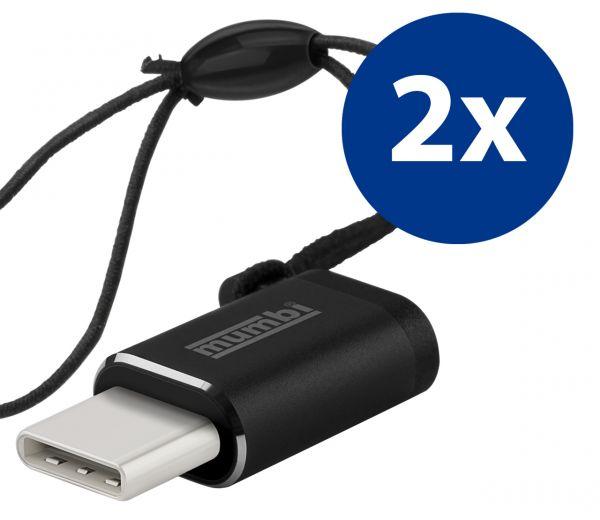 2x Adapter schwarz USB 3.1 Typ C (Stecker) auf Micro USB (Buchse) mit Gummiband