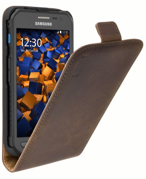 Flip Case Ledertasche braun für Samsung Galaxy Xcover 3