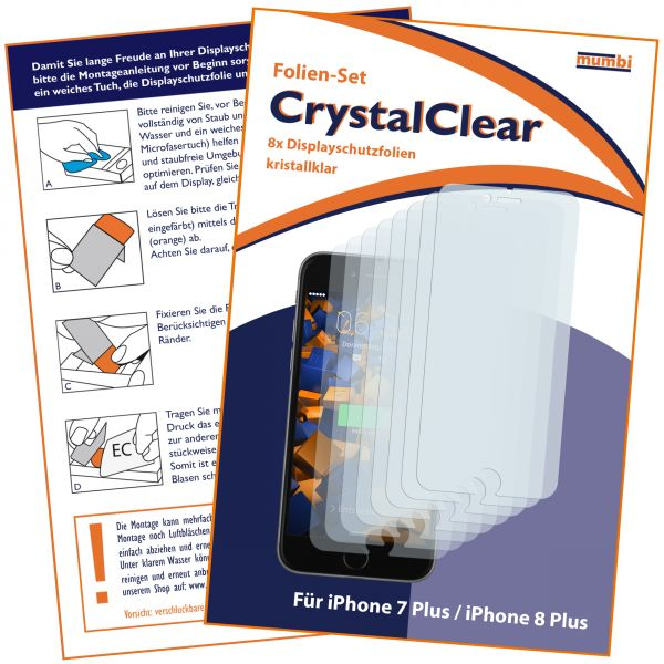 Displayschutzfolie 8 Stck. CrystalClear für Apple iPhone 8 Plus / 7 Plus