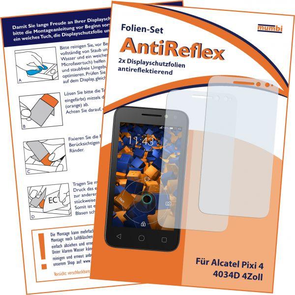 """Displayschutzfolie 2 Stck. AntiReflex für Alcatel Pixi 4 4034D 4"""""""