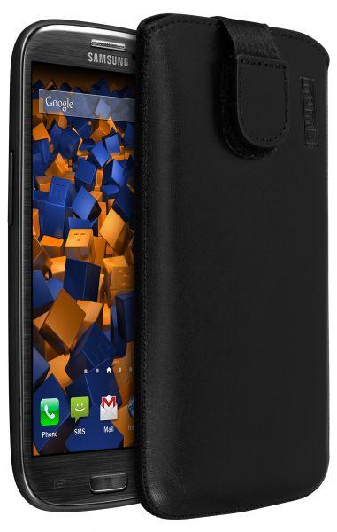 Leder Etui Tasche mit Ausziehlasche schwarz für Samsung Galaxy S3 / S3 Neo