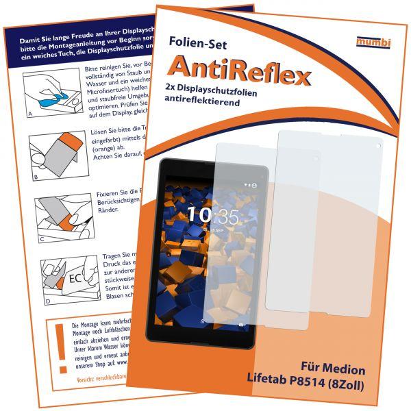 Displayschutzfolie 2 Stck. AntiReflex für Medion Lifetab P8514