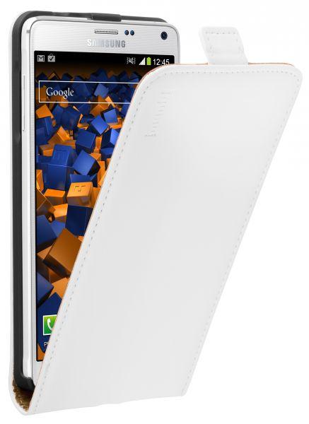 Flip Case Ledertasche weiß für Samsung Galaxy Note 4