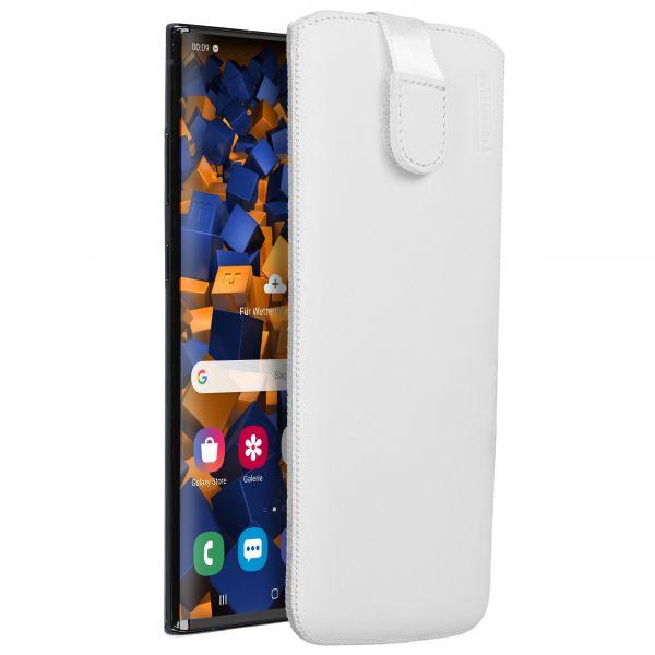 Leder Etui Tasche mit Ausziehlasche weiß für Samsung Galaxy Note10 Plus