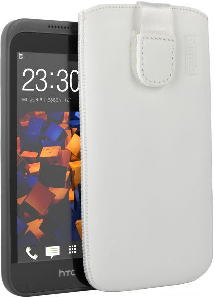 Leder Etui Tasche mit Ausziehlasche weiß für HTC Desire 320