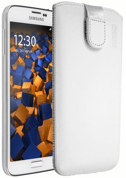 Leder Etui Tasche mit Ausziehlasche weiß für Samsung Galaxy S5 / S5 Neo