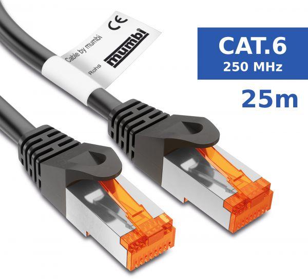 CAT 6 Ethernet Lan Netzwerkkabel 25 Meter Kabel in Schwarz