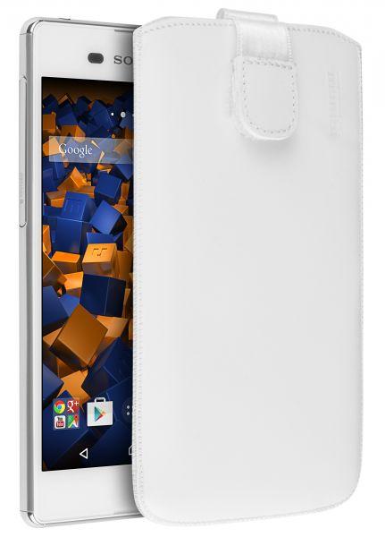 Leder Etui Tasche mit Ausziehlasche weiß für Sony Xperia M5