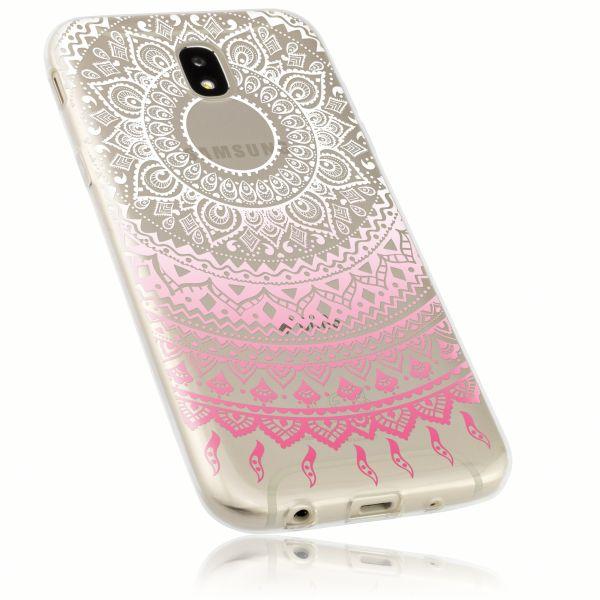 TPU Hülle Ultra Slim transparent weiß rosa Motiv Mandala für Samsung Galaxy J5 (2017)