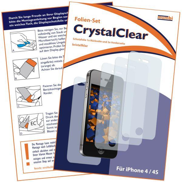 Displayschutzfolie 4 Stck. CrystalClear für Apple iPhone 4 / 4s (3 x vorne + 1 x hinten)