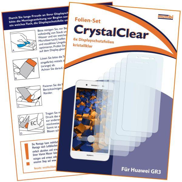 Displayschutzfolie 6 Stck. CrystalClear für Huawei GR3 / P8 Lite Smart