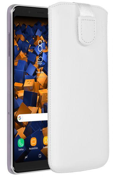 Leder Etui Tasche mit Ausziehlasche weiß für Samsung Galaxy A8 (2018)