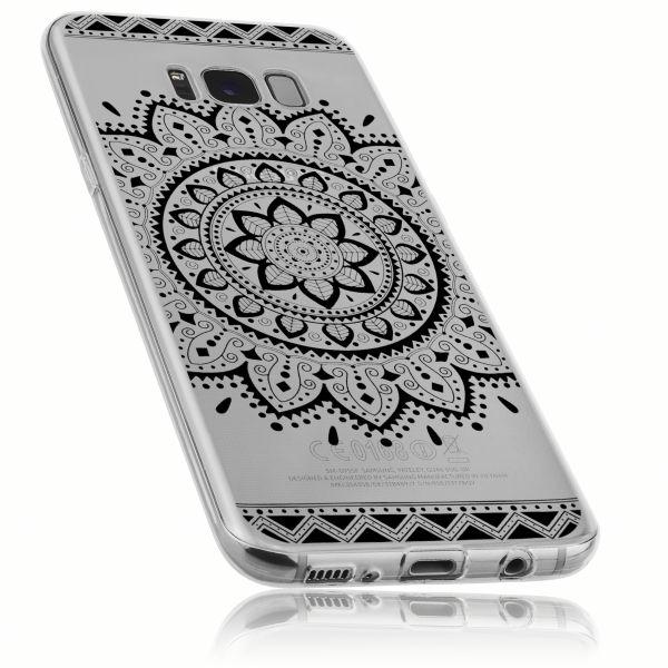 TPU Hülle transparent schwarzes Motiv Mandala für Samsung Galaxy S8