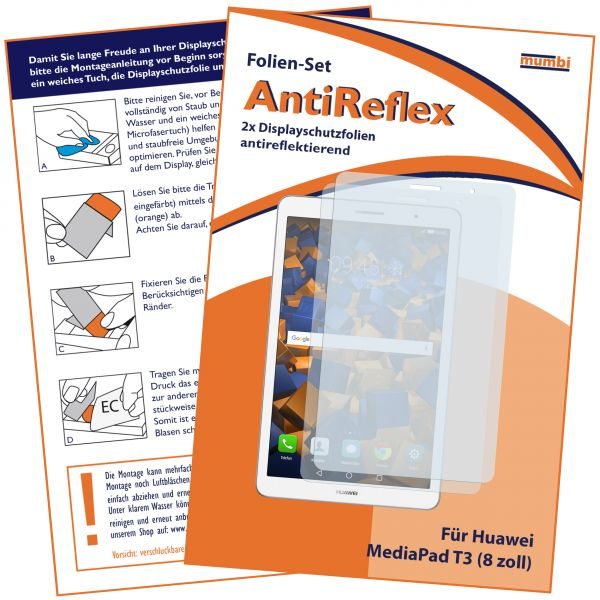Displayschutzfolie 2 Stck. AntiReflex für Huawei MediaPad T3 8.0 Zoll