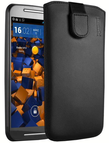 Leder Etui Tasche mit Ausziehlasche schwarz für Motorola Moto G 2. Generation
