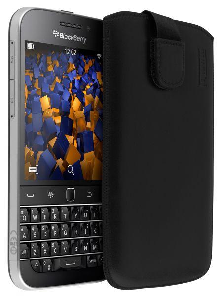 Leder Etui Tasche mit Ausziehlasche schwarz für BlackBerry Classic