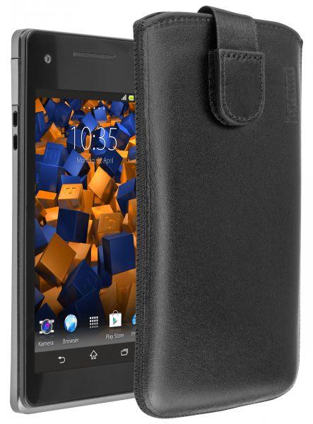 Leder Etui Tasche mit Ausziehlasche schwarz für Sony Xperia V