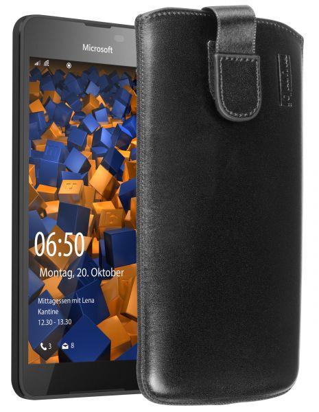 Leder Etui Tasche mit Ausziehlasche schwarz für Microsoft Lumia 650