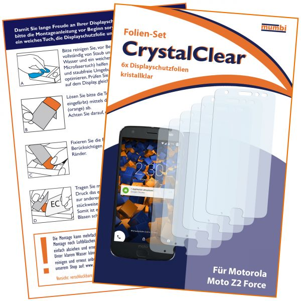 Displayschutzfolie 6 Stck. CrystalClear für Motorola Moto Z2 Force