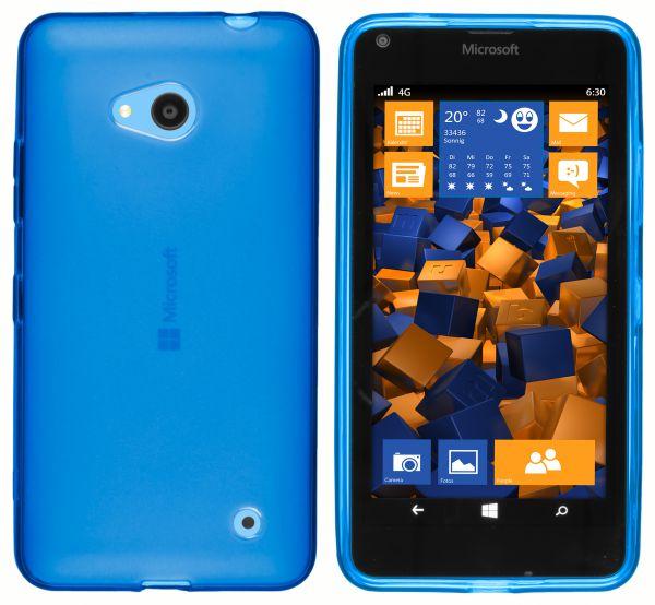 TPU Hülle transparent blau für Microsoft Lumia 640