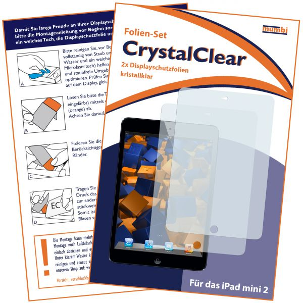 Displayschutzfolie 2 Stck. CrystalClear für Apple iPad Mini / iPad Mini 2 / iPad Mini 3
