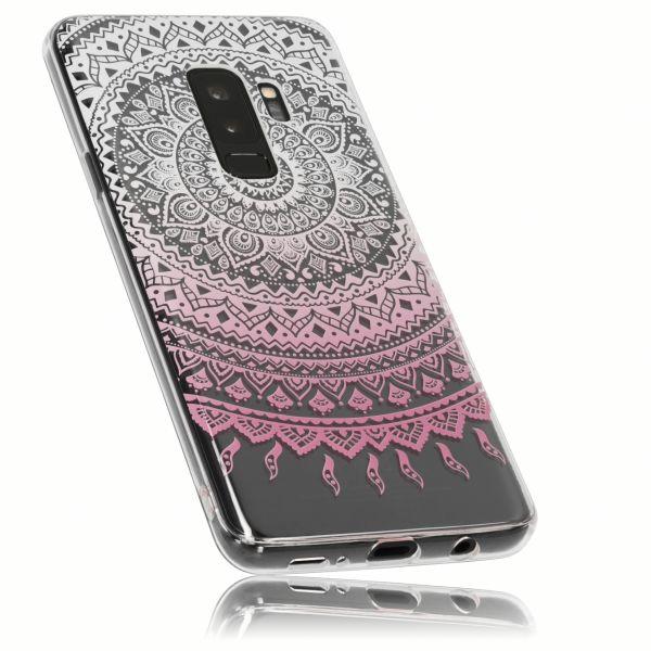 TPU Hülle transparent weiß rosa Motiv Mandala für Samsung Galaxy S9+