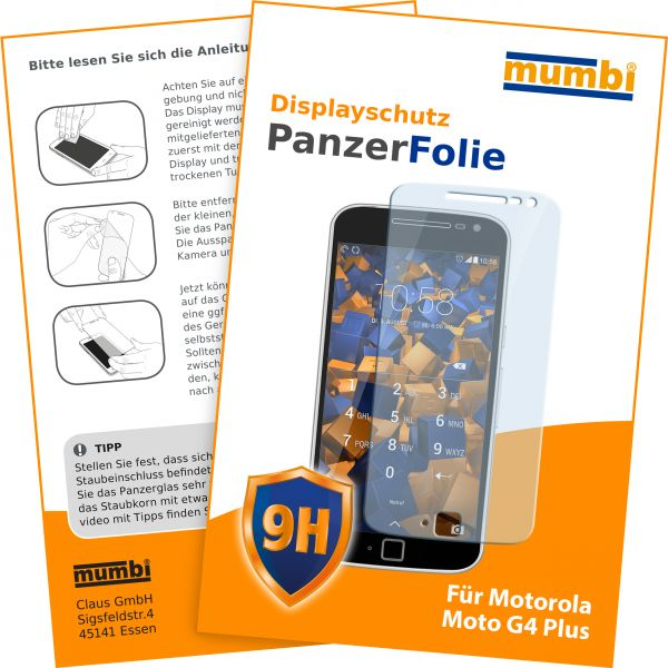 Panzerglasfolie Hartglas 9H für Motorola Moto G4 Plus