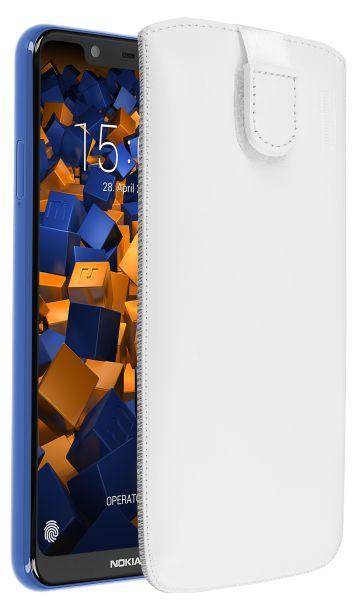 Leder Etui Tasche mit Ausziehlasche weiß für Nokia 5.1 Plus