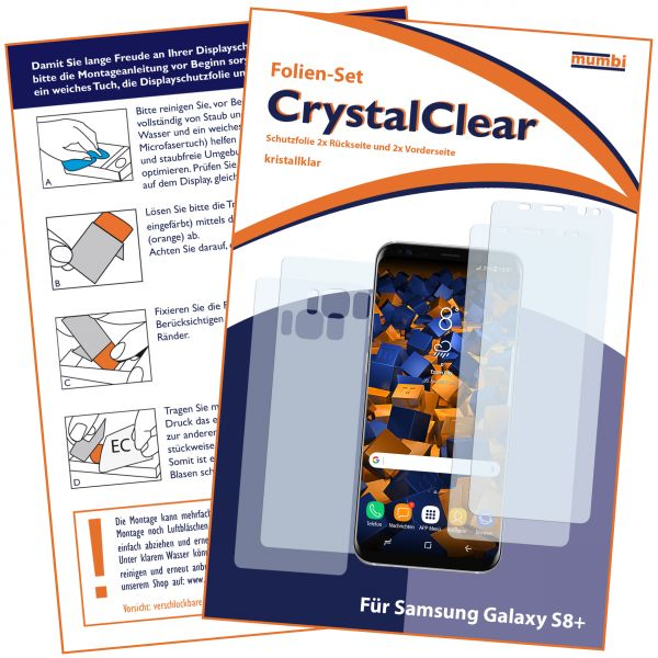 Displayschutzfolie 4 Stck. CrystalClear für Samsung Galaxy S8 Plus (Vorder- und Rückseite)