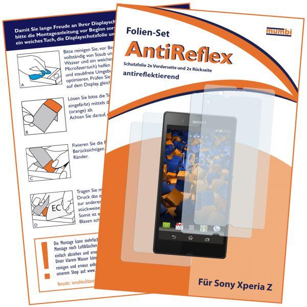 Displayschutzfolie 4 Stck. AntiReflex für Sony Xperia Z (2x vorne und 2x hinten)