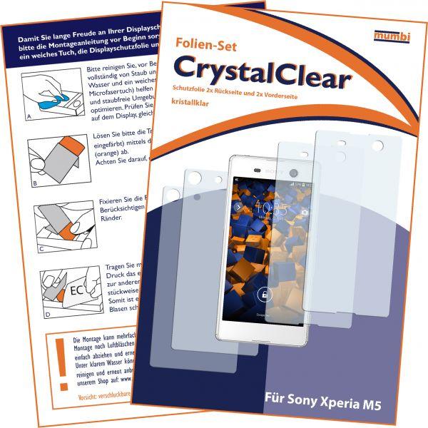 Displayschutzfolie 4 Stck. CrystalClear für Sony Xperia M5 (2x vorne + 2x hinten)