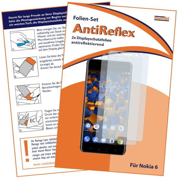 Displayschutzfolie 2 Stck. AntiReflex für Nokia 6 (2017)