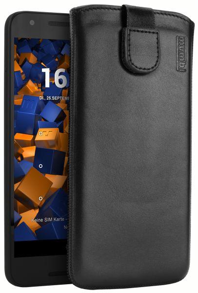 Leder Etui Tasche mit Ausziehlasche schwarz für LG Google Nexus 5X
