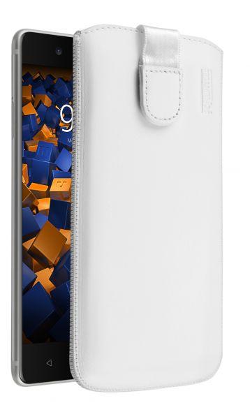 Leder Etui Tasche mit Ausziehlasche weiß für Nokia 8