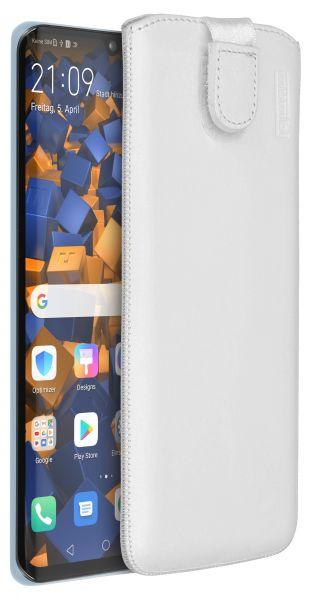 Leder Etui Tasche mit Ausziehlasche weiß für Huawei P30 Pro