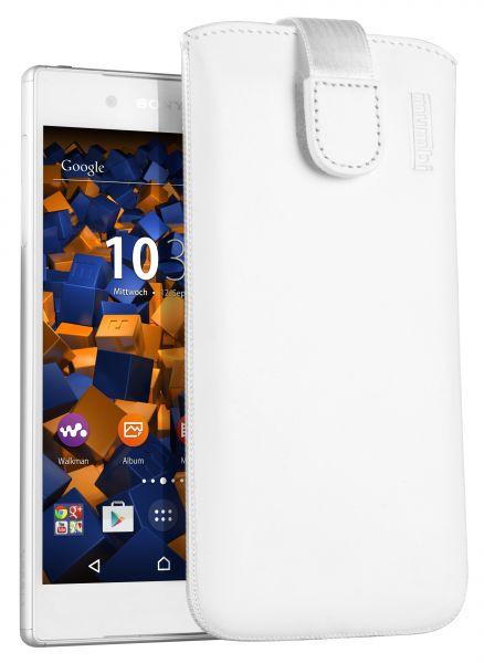 Leder Etui Tasche mit Ausziehlasche weiß für Sony Xperia Z5