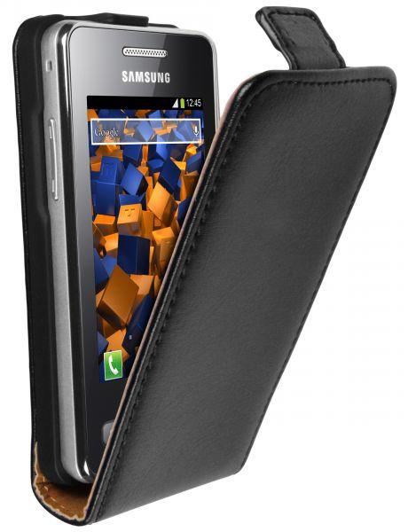 Flip Case Ledertasche schwarz für Samsung Star 2