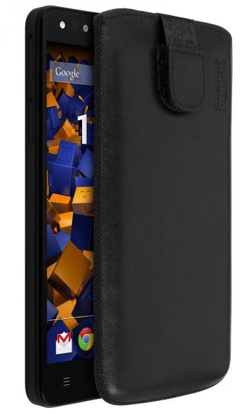 Leder Etui Tasche mit Ausziehlasche schwarz für Medion Life x5001