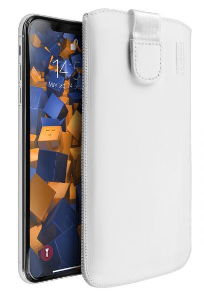 Leder Etui Tasche mit Ausziehlasche weiß für Apple iPhone XS Max