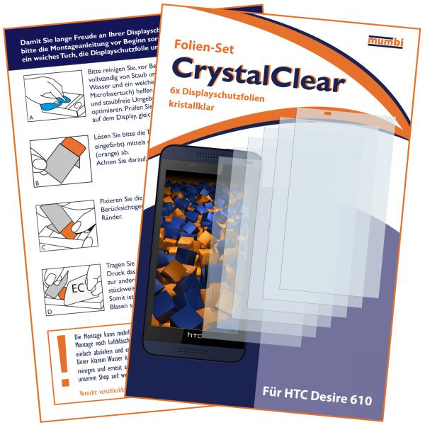 Displayschutzfolie 6 Stck. CrystalClear für HTC Desire 610
