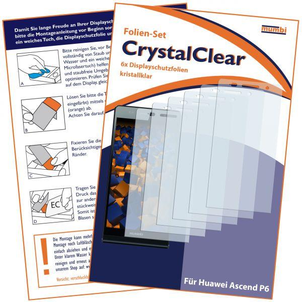 Displayschutzfolie 6 Stck. CrystalClear für Huawei Ascend P6