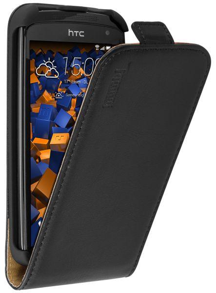 Flip Case Ledertasche schwarz für HTC Desire 500