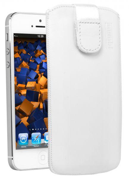 Leder Etui Tasche mit Ausziehlasche weiß für Apple iPhone SE / 5 / 5s / 5c