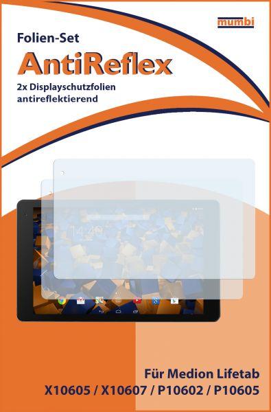 Displayschutzfolie 2 Stck. AntiReflex für Medion Lifetab X10605 / X10607 / P10605 / P10606 / P10612