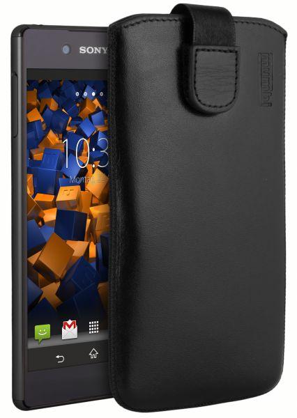 Leder Etui Tasche mit Ausziehlasche schwarz für Sony Xperia Z3 Plus