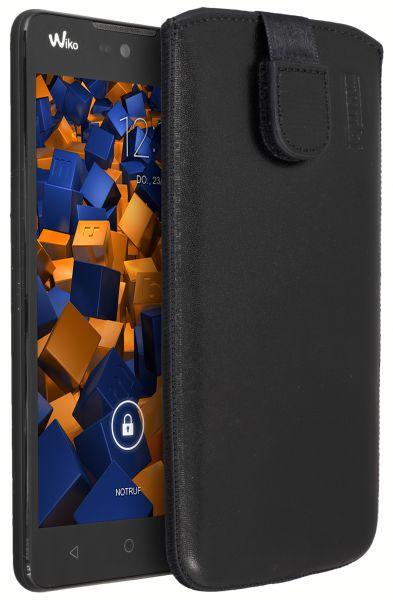 Leder Etui Tasche mit Ausziehlasche schwarz für Wiko Rainbow Lite