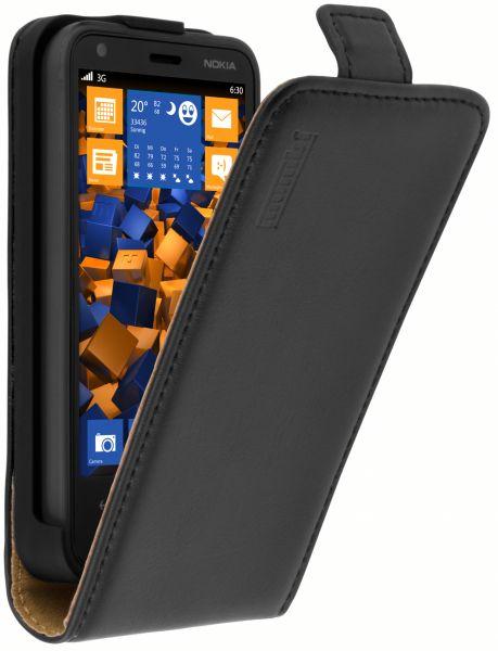 Flip Case Ledertasche schwarz für Nokia Lumia 620