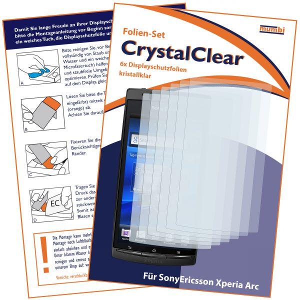 Displayschutzfolie 6 Stck. CrystalClear für Sony Ericsson Xperia Arc / Xperia Arc S
